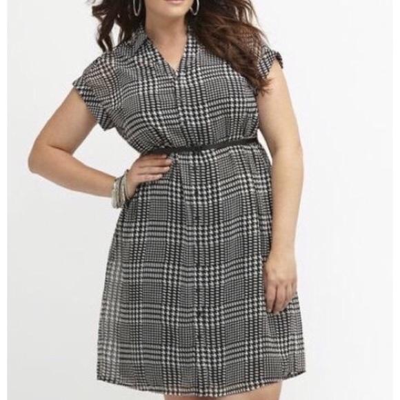 Lane Bryant Dresses | Plus Size Houndstooth Shirt Dress | Poshmark